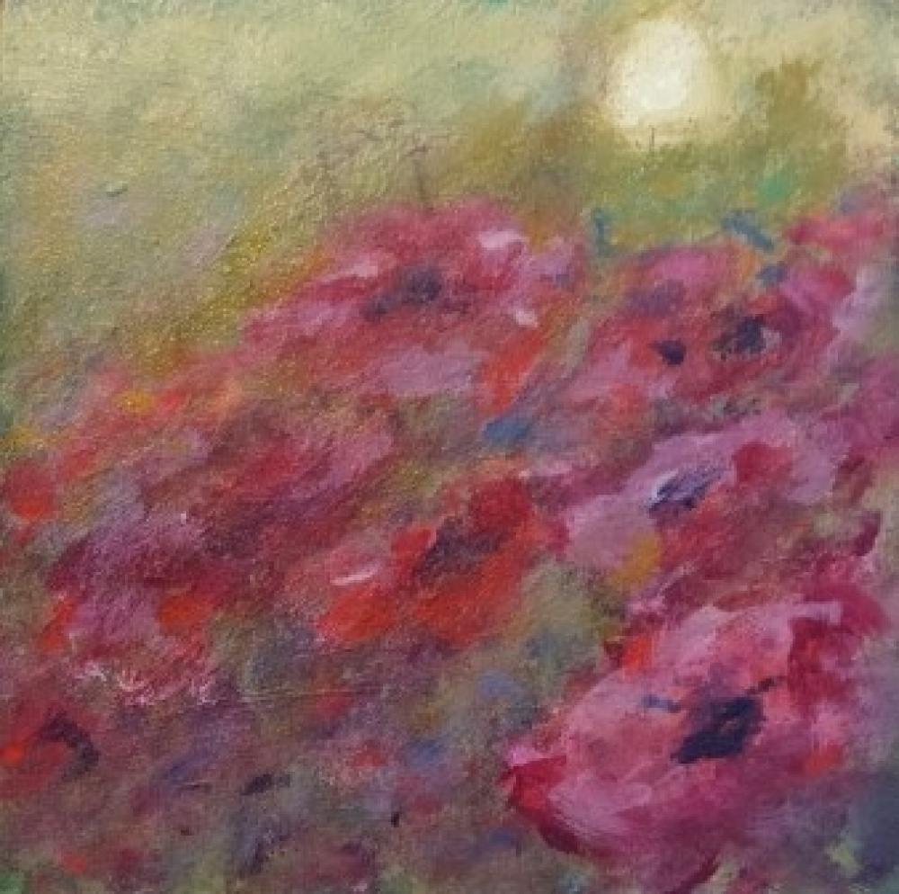 Bloemen op paneel, acryl, 16 x 16