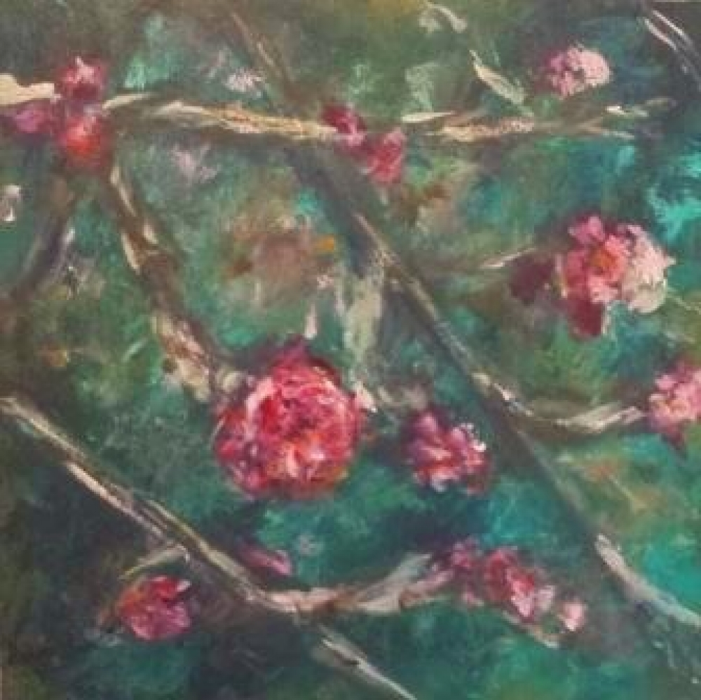 Bloemen op paneel, acryl, 16 x 16