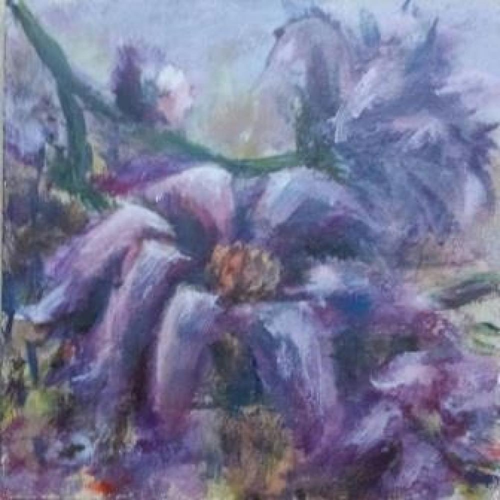 Bloemen, acryl op paneel, 16 x 16