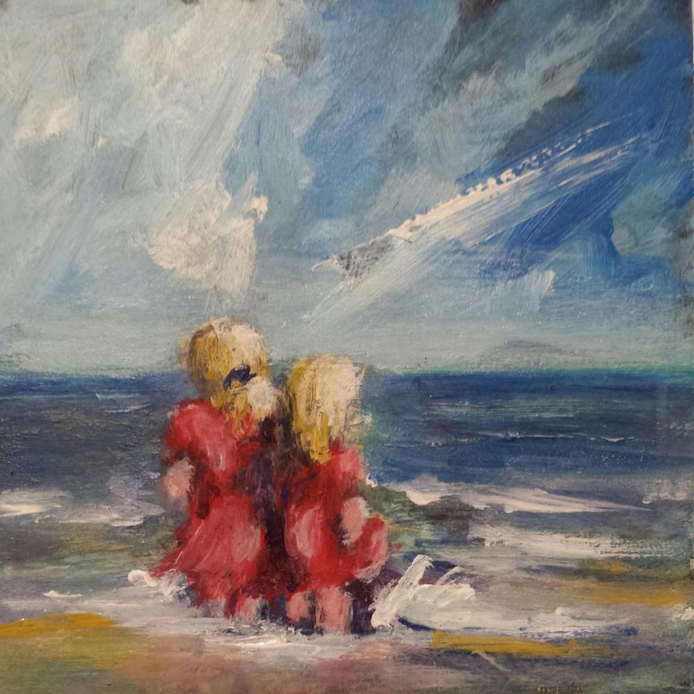 Mini schilderijtje, acryl op klein paneeltje